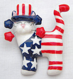 Whimsiclay Yankee Doodle Kitty Pin or Magnet