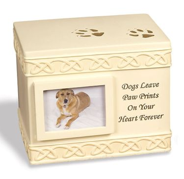 Dog Paw Prints Rock Pet Urn
