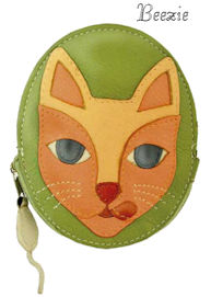 Beezie Cat Genuine Leather Coin Purse