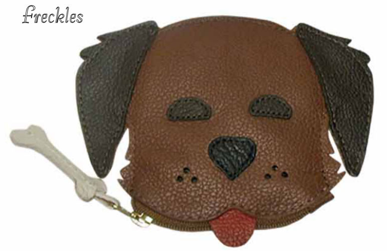 Freckles Dog Genuine Leather Coin Purse and Key Fob