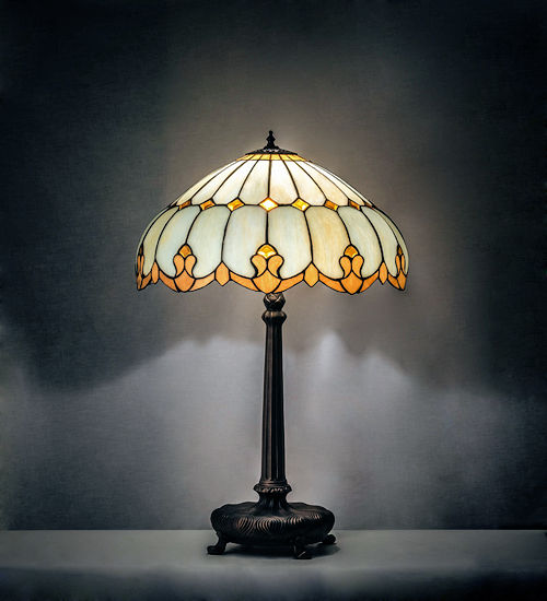 Nouveau Bent Panel Dome Table Lamp