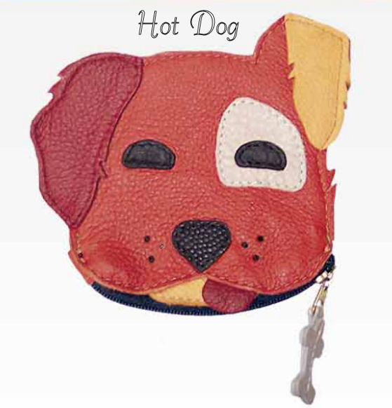 Hot Dog Genuine Leather Coin Purse and Key Fob