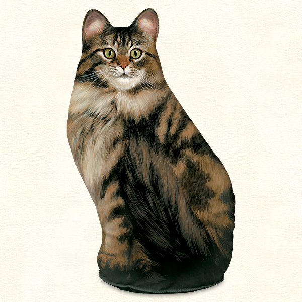 Long-Haired Tabby Cat Doorstop