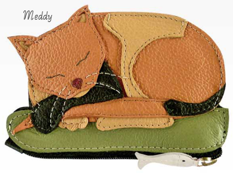 Meddy Cat Genuine Leather Coin Purse and Key Fob