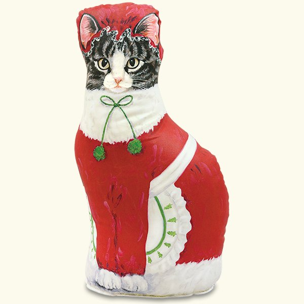 Christmas Mrs. Claus Cat Doorstop