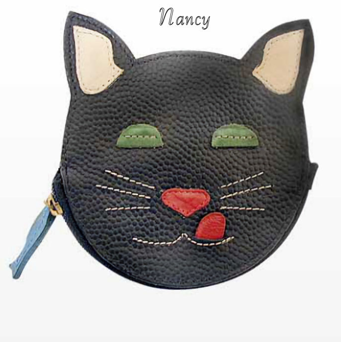 Nancy Cat Genuine Leather Coin Purse and Key Fob