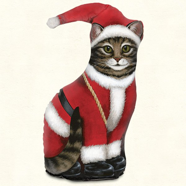 Christmas Grandfather Claus Cat Doorstop