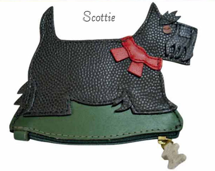 Scottie Dog Genuine Leather Coin Purse and Key Fob