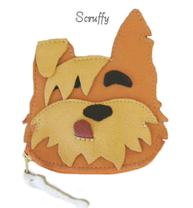 Scruffy Dog Genuine Leather Coin Purse and Key Fob