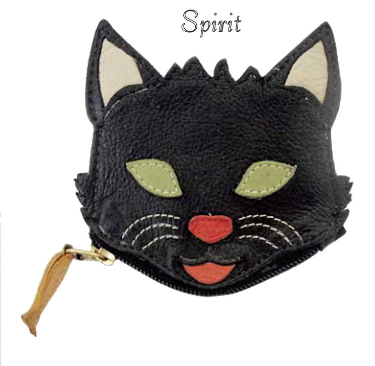 Spirit Cat Genuine Leather Coin Purse and Key Fob